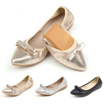 Latest Women's Pointed Toe Loafers Stylish Ballerinas Flat Shoes Folding Shoes