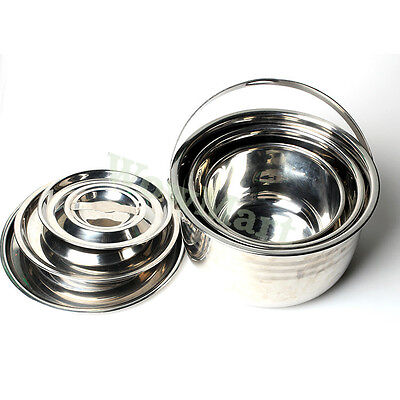 New Portable Camping Stainless Steel Outdoor Cooking 3-Pot Set & Lid (17-23cm)
