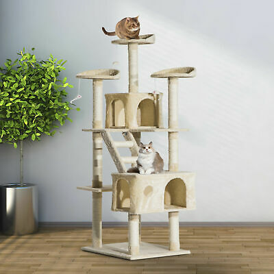 "71"" Scratching Cat Tree Kitty Condo Multi Level Play Post Activity Center Beige"