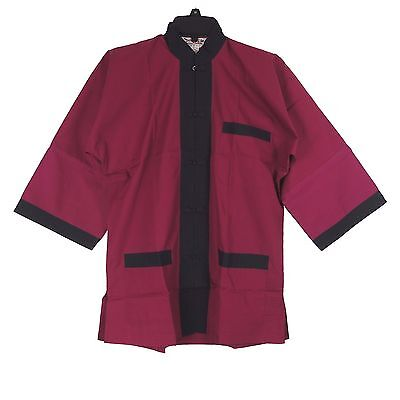 Traditional Chinese Men's Jacket in Burgandy w/ Black Trim - Size S - New