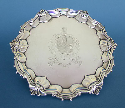 Antique 18thC English George II Sterling Silver Waiter or Card Tray London 1752