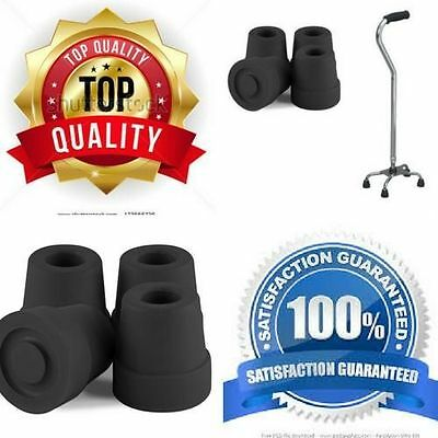 New Premium Black 1/2 Inch Anti Slip Walking Quad Cane Rubber Tips Replacement