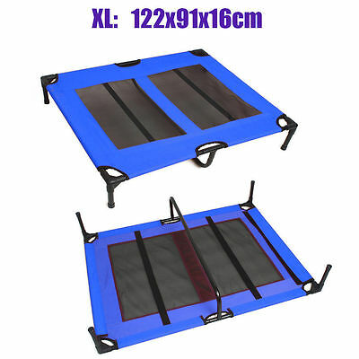 Extra Large Pet Dog Trampoline Hammock Bed Cat Puppy Cover Foldable Frame Blue