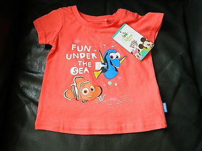 New Baby Children Tee Cotton Top Coral Finding Dory Size 00 By Disney Baby