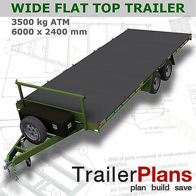 Trailer Plans- 6m FLAT TOP TRAILER PLANS- PRINTED HARDCOPY- Car Trailer, Flatbed