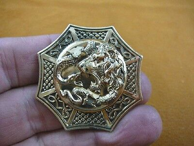 (B-LION-702) Lion fighting snake serpent wild Big cat octagon brass pin pendant