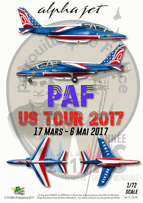 "[FFSMC Productions] Decals Patrouille de France Alphajet ""PAF US Tour"" 2017 1/72"