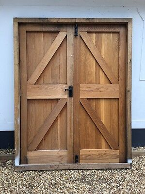 Large Solid Oak Double Door Set Frame Period Reclaimed Old Workshop Front Two.