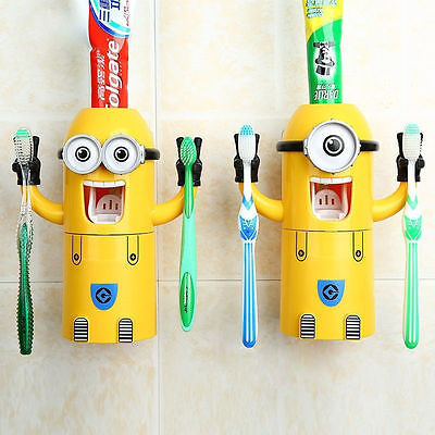 Cute Wall-Mounted 1 Or 2 Eyes Minions Toothpaste Dispenser and Toothbrush Holder
