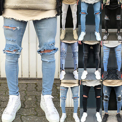Fashion Men's Jeans Casual Skinny Ripped Slim Fit Denim Pants Straight Trousers