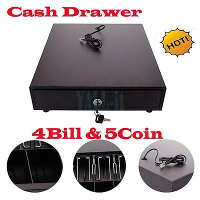 Cash Money Drawer Box Works Compatible Epson POS Printers w/4Bill &5Coin Tray