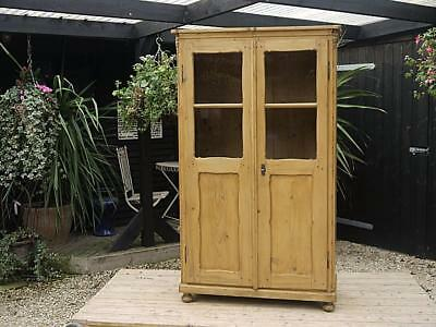Large Old Antique/ Victorian Glazed Pine Bookcase/ Cupboard - Food/linen/shelves