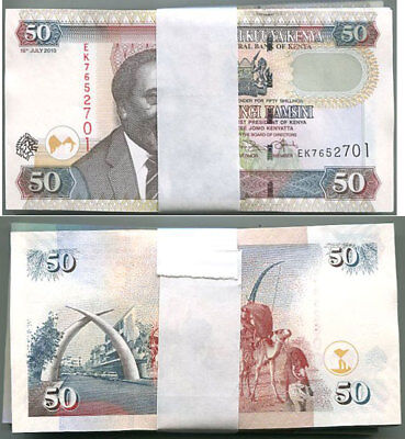 Kenya 50 Shillings 2010 P 47 Unc Lot 100 Pcs 1 Bundle