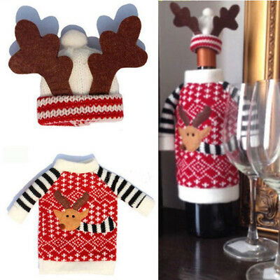 Hot Xmas Holiday Party Red Wine Champagne Drink Bottle Cover Decor Ornaments HG