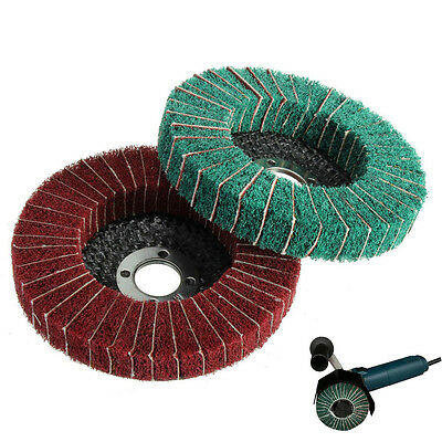 "4"" 120/240 Grit Nylon Fiber Flap Wheel Disc 100mm Abrasive Polishing Buffing Pad"
