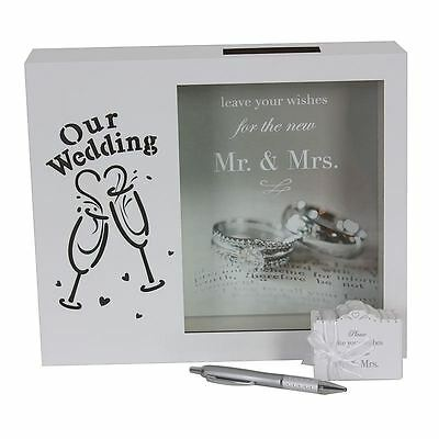 Our Wedding Wishing Well Box LED Light Up | Guest Book Box, 100 Cards, Pen