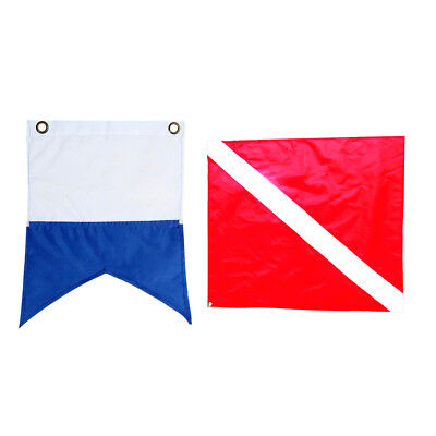2pcs Underwater Diving Snorkeling Free Diving Flag Red & Blue Safety Flag