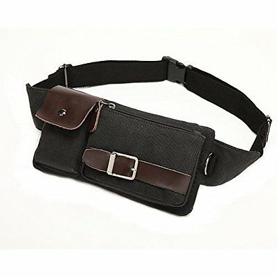Vintage Waist Bag Black Womens Mens Day Pack Pouch Security Money Belt Phone NEW