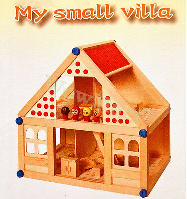 NEW Wooden Toy Pretend Play Doll House My Villa -40pcs