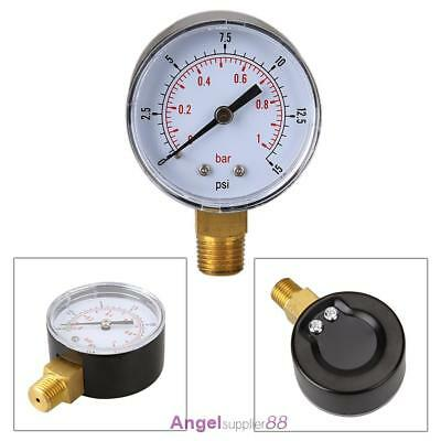 Low Pressure Gauge For Fuel Air Gas Oil Water 50mm 0/15 PSI 0/1 Bar 1/4 BSP