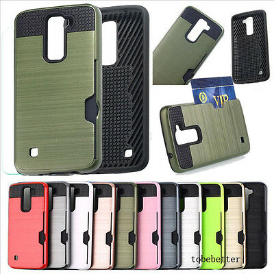 New Brushed Armor Hybrid Hard Card Slot Shockproof Dual Layer Case Cover For LG