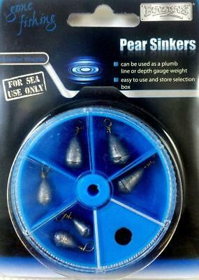 Gone Fishing Pear Sinkers for Sea Fishing 8 Assorted Weights in Storage Box