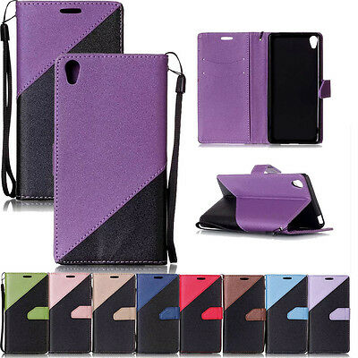 Premium PU Leather Wallet Flip Case Cover Stand W/Strap For Smart Mobile Phones