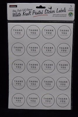 120 THANK YOU Craft Stickers - Round Labels For Bonbonniere Party Gift Envelopes