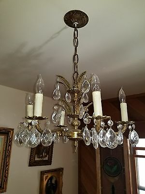 Vintage PETITE Mid-Century Gilded Brass & Crystal Chandelier with candle bulbs