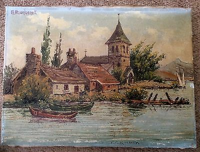Original 1900s Signed BONDENET Oil Painting,Post Impressionist French Landscape