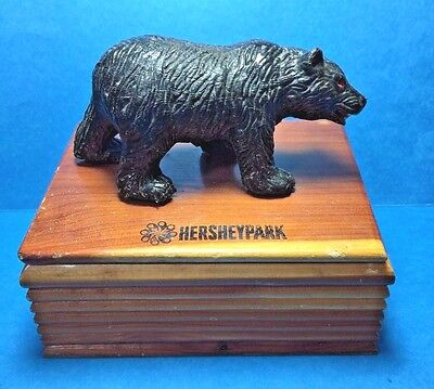Vintage Wooden Box With Bear on Top From Hershey Park