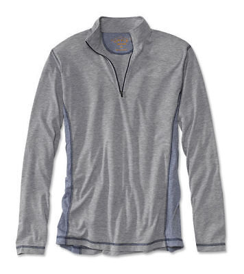 Mens Orvis Trout Bum 8953 Wicking Quarter-Zip Shirt Large Gray Navy Pullover NWT
