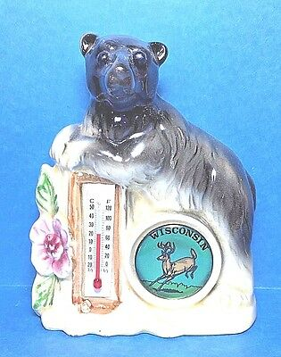 Vintage Ceramic Thermometer Bear on Top From Wisconsin