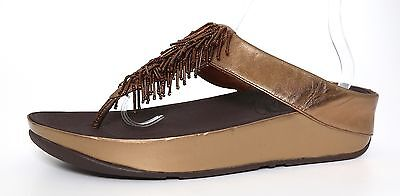7a574324dac6 Fitflop Cha Cha Metallic Beaded Thong Style Sandals Bronze Women Sz 11 4264