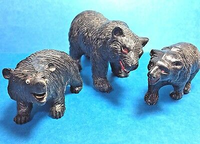 Vintage Set of 3 Resin Black Bears