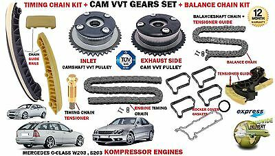 For Mercedes C180 C200 C220 Kompressor Timing Chain Kit + Camshaft Vvt Gears