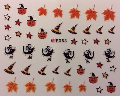 Halloween Nail Art Stickers Transfers Leaves Pumpkins Cat Witch Hat Stars (E063)