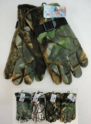 96 Pairs Mens Hardwood Camo Fleece Gloves Thermal Insulated Winter WHOLESALE LOT