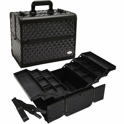 "Makeup Train Case 13.5"" Aluminum Pro Cosmetic Organizer Box Adjustable Dividers"