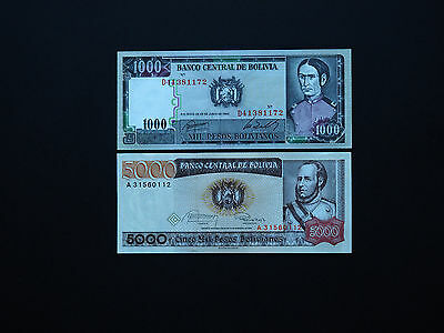 BOLIVIA BANKNOTES CLASSIC MILITARY SET OF TWO   -  1k and 5k  Notes   MINT UNC