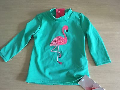 BNWT New Marks Spencer M&S Baby Lycra Long Sleeved Top 3-6M - Green - Flamingo