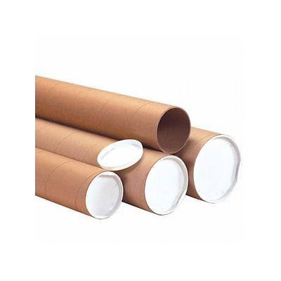 Box Packaging Heavy-Duty Mailing tube with Cap, Kraft, 10 Tubes/Case