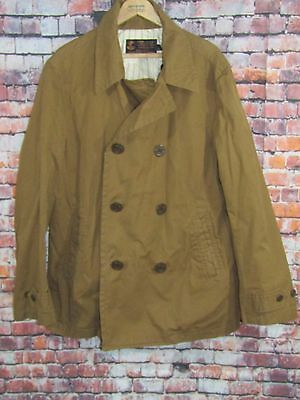 J Crew Military Grade Canvas Peacoat Type G38 Brown Double Breasted