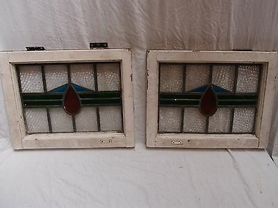 Pair Of Coloured Leaded Light Art Deco Design Stained Glass Windows