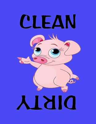 METAL DISHWASHER MAGNET Pink Pigs Pig Clean Dirty Dishes Purple Background