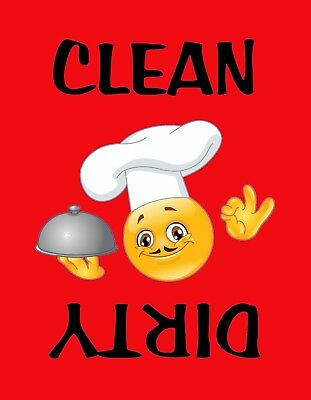 METAL DISHWASHER MAGNET Smiley Face Blue Background Clean Dirty Dishes Kitchen