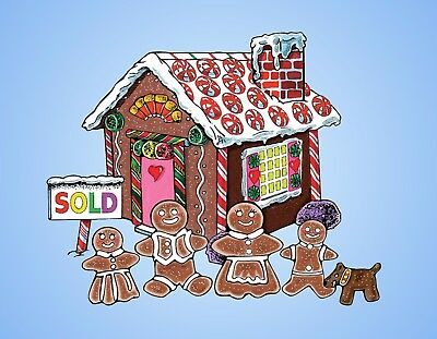 METAL REFRIGERATOR MAGNET Christmas Gingerbread House Family Dog Candy Food