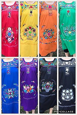 MEXICAN LONG TUNIC DRESS , Size Medium ,HANDMADE , EMBROIDERED , PUEBLA,Fest