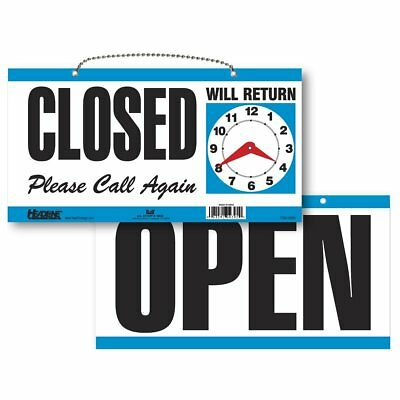 Headline Sign 9395 Double-Sided Open/Closed/Will Return Sign with Clock Hands, 6