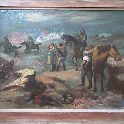 Louis Ribak Painting Military Modernism Exhibited Wpa Era Love And War Antique